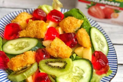 Fish with Strawberry Jelly Salad