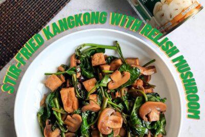 Stir Fried Kangkong with Relish Mushroom
